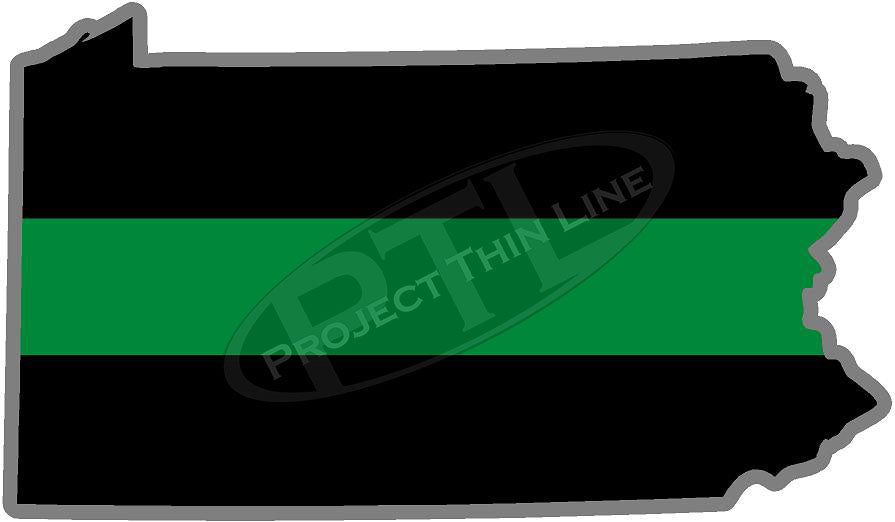 "5"" Pennsylvania PA Thin Green Line Black State Shape Sticker"