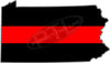 "5"" Pennsylvania PA Thin Red Line State Sticker Decal"