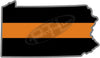 "5"" Pennsylvania PA Thin Orange Line Black State Shape Sticker"