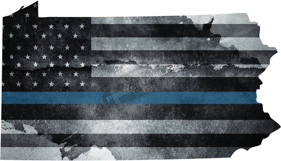 "5"" Pennsylvania PA Tattered Thin Blue Line State Sticker Decal"