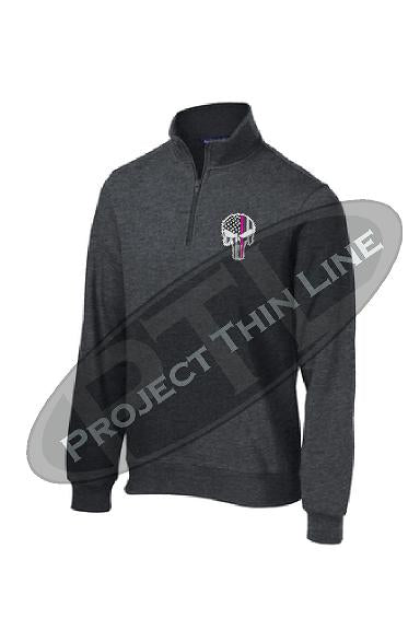 Black 1/4 Zip Fleece Sweatshirt Embroidered Thin Pink Line Punisher Skull inlayed with American Flag