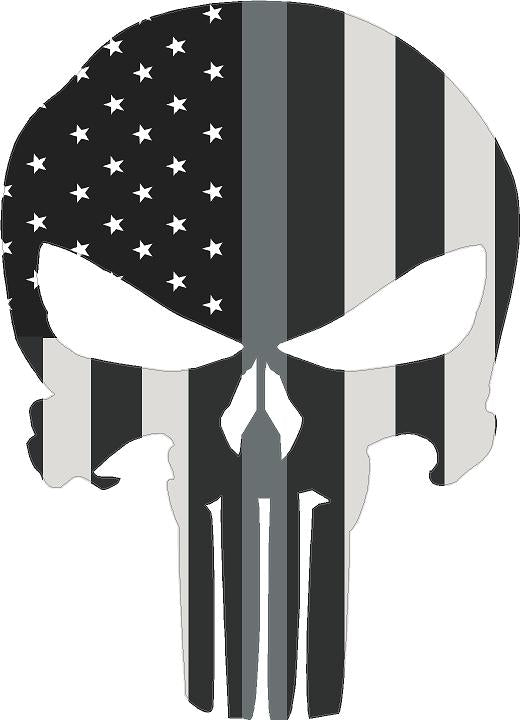 "5"" Skull Punisher BW Thin SILVER Line Shape Sticker Decal"