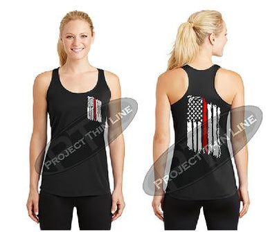 Black Tattered Thin RED Line American Flag Racerback Tank Top