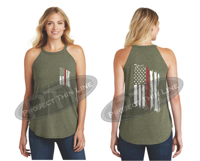 Tattered Thin Red Line American Flag Rocker Tank Top