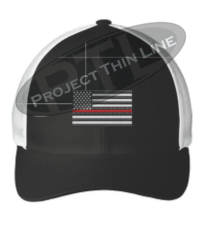 Black / White Embroidered Thin Red Line American Flag Flex Fit Fitted TRUCKER Hat