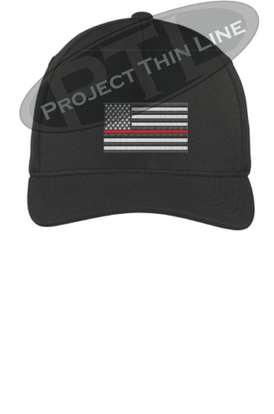 Black Embroidered Thin Red Line American Flag Flex Fit Fitted TRUCKER Hat