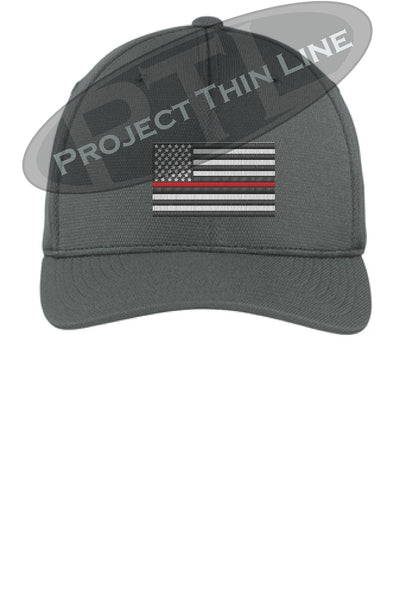 Dark Grey Embroidered Thin Red Line American Flag Flex Fit Fitted TRUCKER Hat