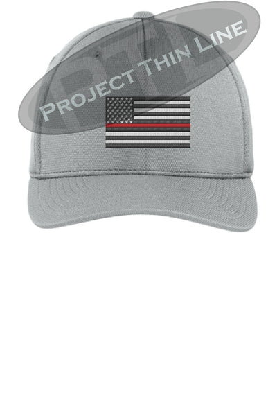 Light Grey Embroidered Thin Red Line American Flag Flex Fit Fitted TRUCKER Hat