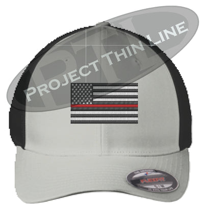 Silver / Black Embroidered Thin Red Line American Flag Flex Fit Fitted TRUCKER Hat
