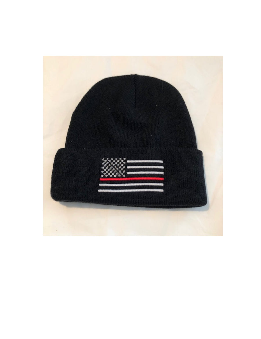 Thin Red Line Fold Over Winter Watch Hat