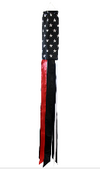 5' Thin RED Line American Flag Windsock