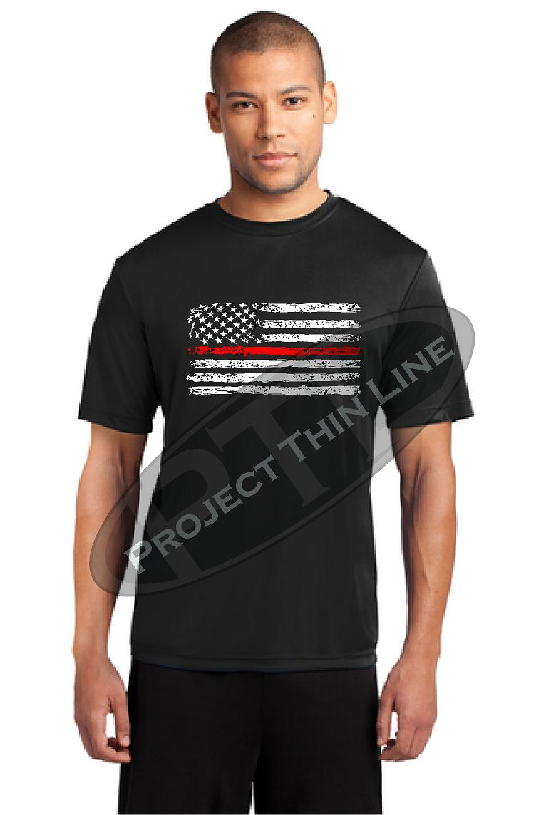 Thin RED Line Tattered Horizontal Flag Performance Short Sleeve T-Shirt