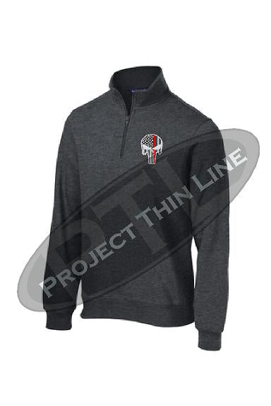 Graphite Grey 1/4 Zip Fleece Sweatshirt Embroidered Thin RED Line Punisher Skull inlayed with American Flag