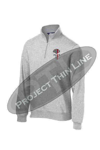 Light Grey 1/4 Zip Fleece Sweatshirt Embroidered Thin RED Line Punisher Skull inlayed with American Flag
