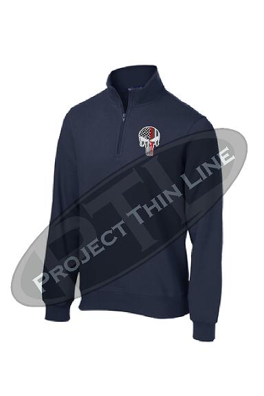 Navy Blue 1/4 Zip Fleece Sweatshirt Embroidered Thin RED Line Punisher Skull inlayed with American Flag