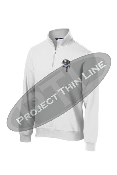 White 1/4 Zip Fleece Sweatshirt Embroidered Thin RED Line Punisher Skull inlayed with American Flag