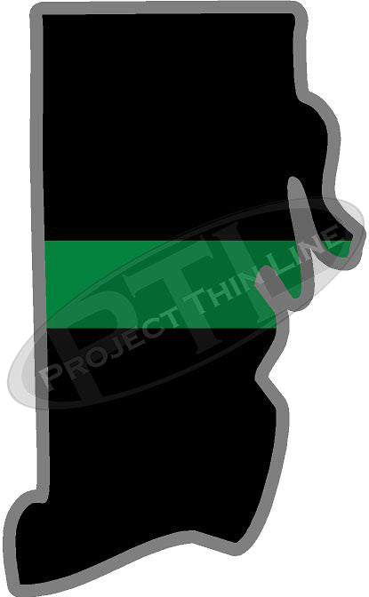 "5"" Rhode Island RI Thin Green Line Black State Shape Sticker"