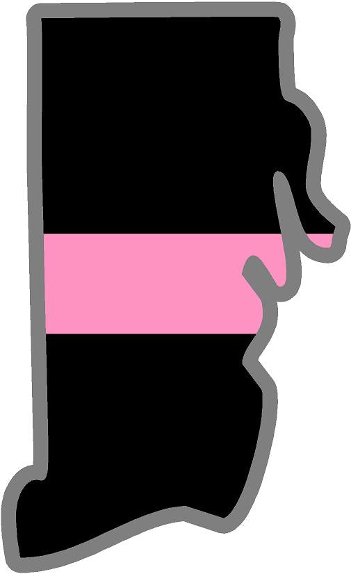 "5"" Rhode Island RI Thin Pink Line Black State Shape Sticker"