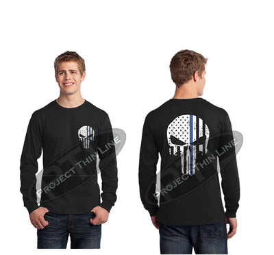 Thin BLUE Line Skull Tattered Flag Long Sleeve T-Shirt