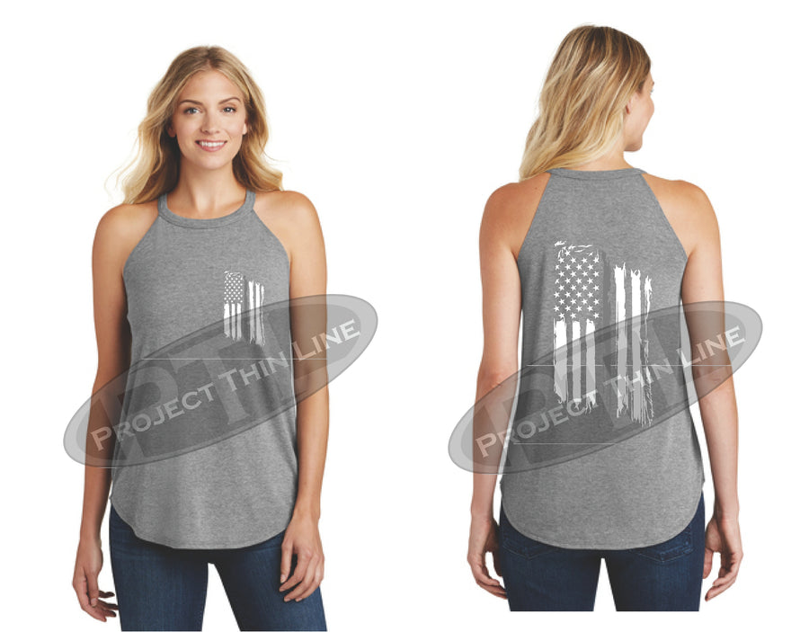 Black Tattered Thin SILVER Line American Flag Rocker Tank Top