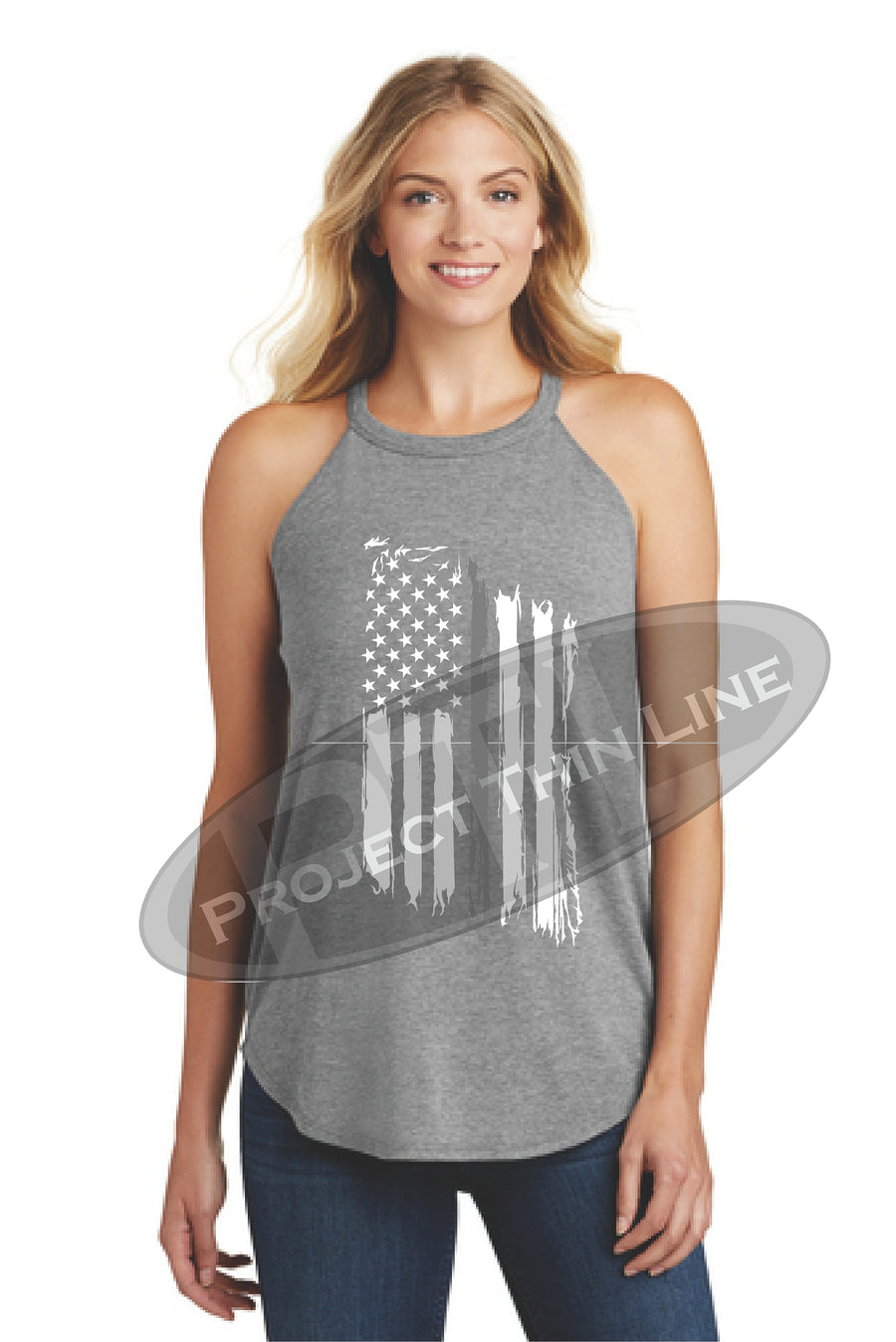 Black Tattered Thin SILVER Line American Flag Rocker Tank Top - FRONT
