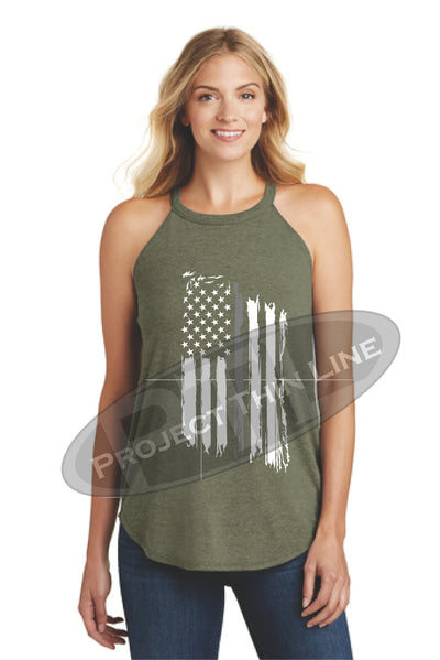 OD Green Tattered Thin SILVER Line American Flag Rocker Tank Top - FRONT
