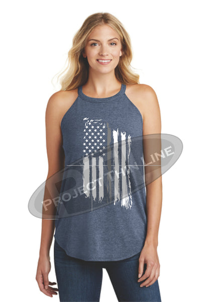 Navy Tattered Thin SILVER Line American Flag Rocker Tank Top - FRONT
