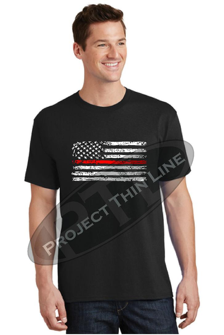 Thin RED Line Tattered Horizontal Flag Short Sleeve T-Shirt