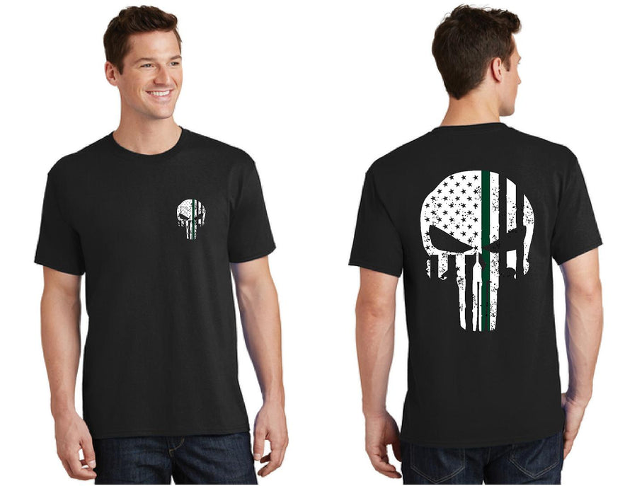 Thin GREEN Line Tattered Skull T-Shirt