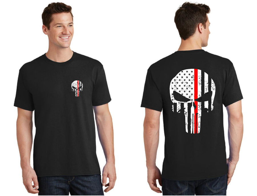 Thin RED Line Tattered Skull T-Shirt