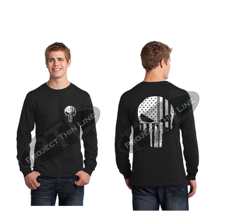 Thin Silver Line SKULL Tattered Flag Long Sleeve T-Shirt