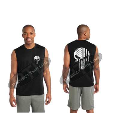 BLACK Thin Silver Line SKULL Tattered American Flag Performance Tank Top