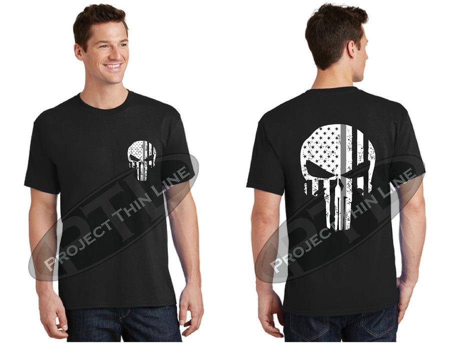 Thin SILVER Line SKULL Tattered Flag Short Sleeve T-Shirt