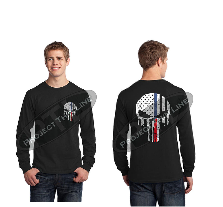 Black Thin BLUE / RED Line Tattered Punisher Skull inlayed with American Flag Skull Long Sleeve T-Shirt