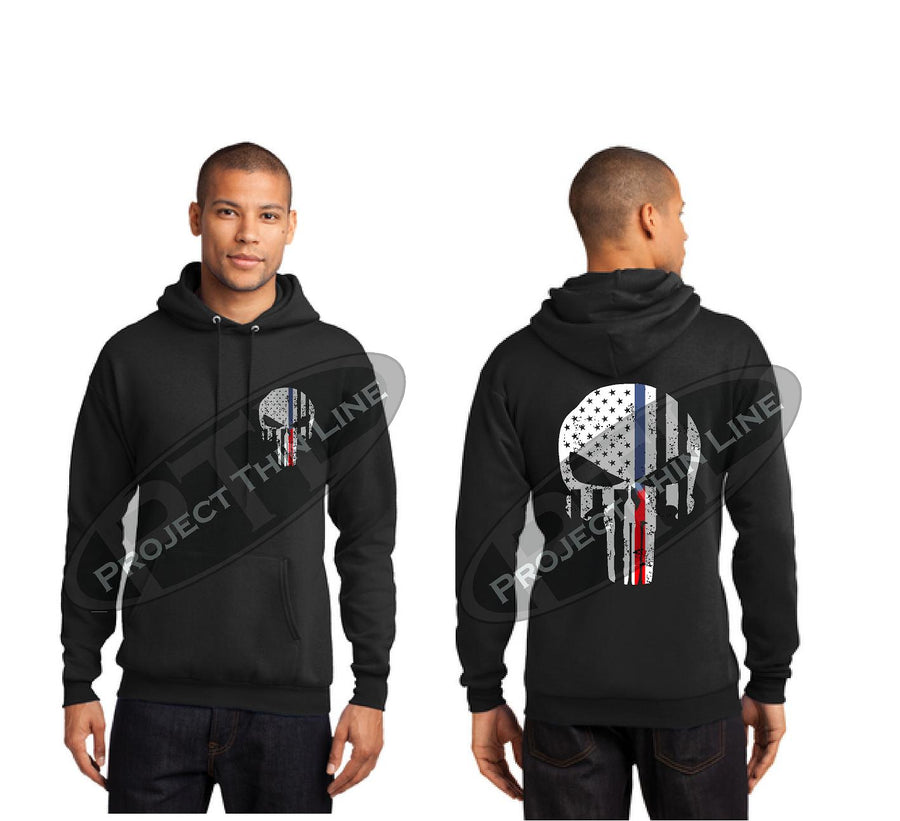 Black Thin BLUE / RED Line Tattered Skull Hooded Sweatshirt