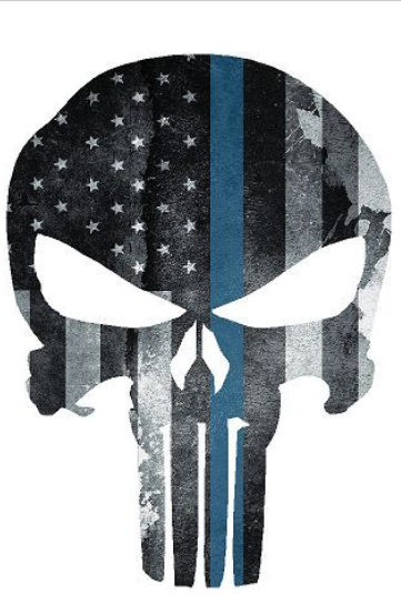 "5"" Skull Punisher Thin Blue Line Shape Sticker Decal"
