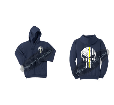 Thin YELLOW Line Punisher Skull inlayed with the Tattered American Flag Hooded Sweatshirt
