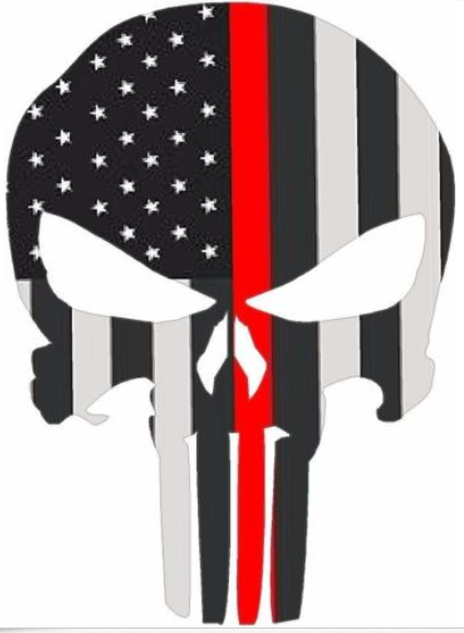"5"" Skull Punisher BW Thin Red Line Shape Sticker Decal"