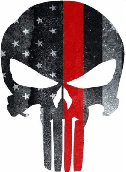 "5"" Skull Punisher Tattered Thin Red Line Shape Sticker Decal"