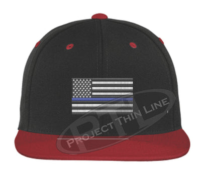 Black / Red Embroidered Thin Blue American Flag Flat Bill Snapback Cap