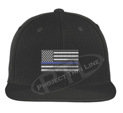 Black Embroidered Thin Blue American Flag Flat Bill Snapback Cap