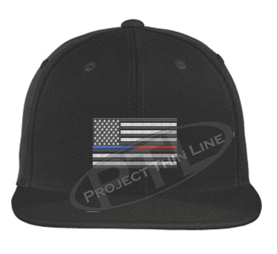 Black Embroidered Thin BLUE / RED American Flag Flat Bill Snapback Cap
