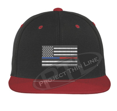 Black / Red Embroidered Thin BLUE / RED American Flag Flat Bill Snapback Cap