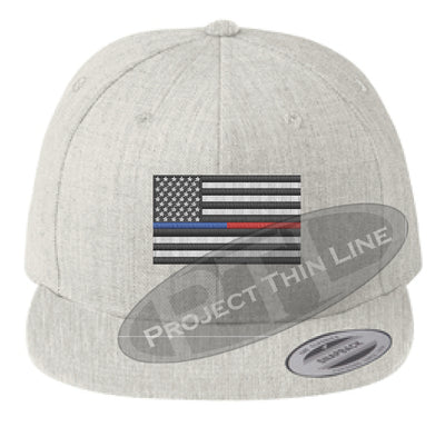 Heather Embroidered Thin BLUE / RED American Flag Flat Bill Snapback Cap