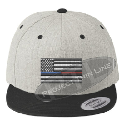 Heather / Black Embroidered Thin BLUE / RED American Flag Flat Bill Snapback Cap