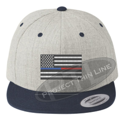 Heather / Navy Embroidered Thin BLUE / RED American Flag Flat Bill Snapback Cap