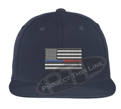 Navy Embroidered Thin BLUE / RED American Flag Flat Bill Snapback Cap