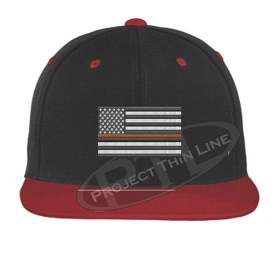 Black / Red Embroidered Thin ORANGE American Flag Flat Bill Snapback Cap