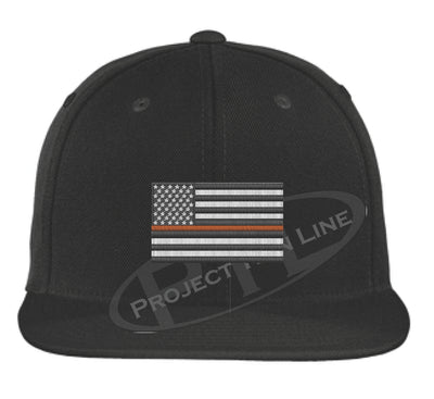 Black Embroidered Thin ORANGE American Flag Flat Bill Snapback Cap