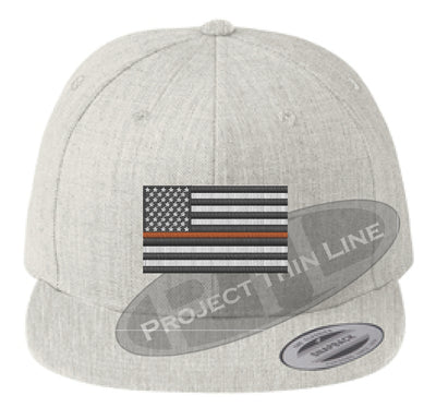 Heather Embroidered Thin ORANGE American Flag Flat Bill Snapback Cap